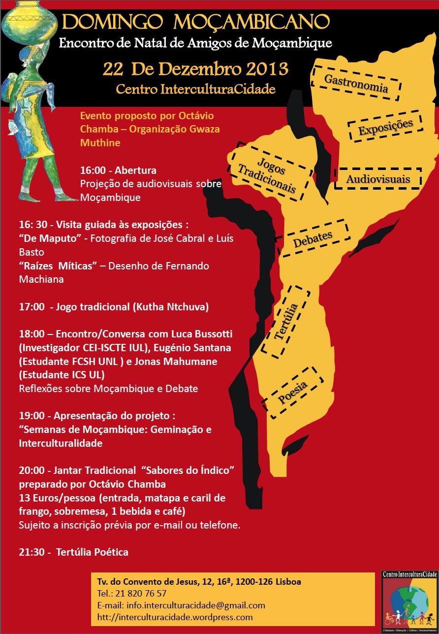 Domingo Moçambicano – Encontro de Natal de Amigos de Moçambique 22 Dez. – Centro InterCulturaCidade