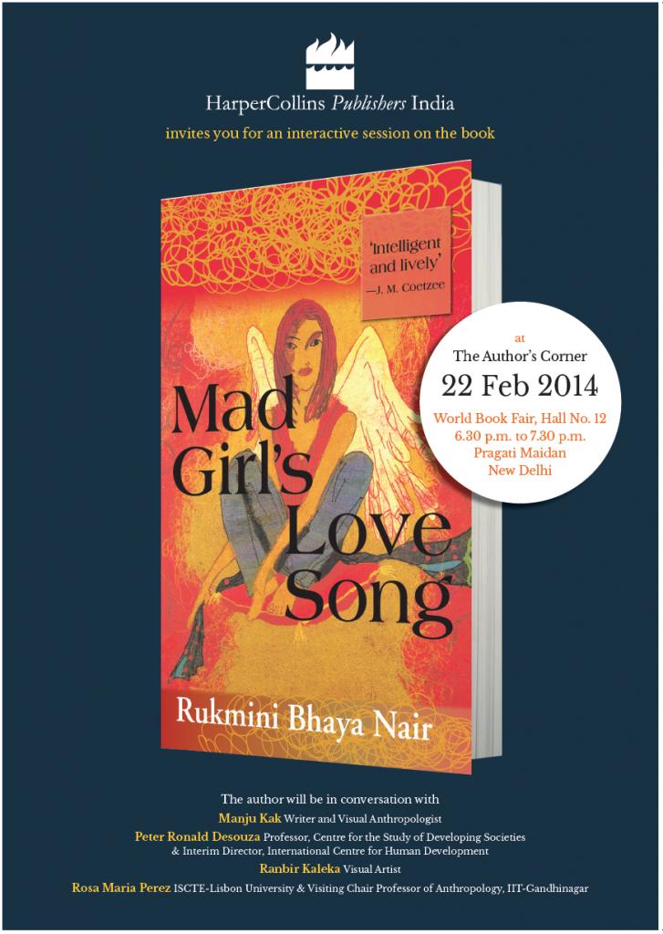 """Lançamento do livro """"Mad Girl's, Love Song"""" (Rukmini Bhaya Nair), com a presença de Rosa Maria Perez"""