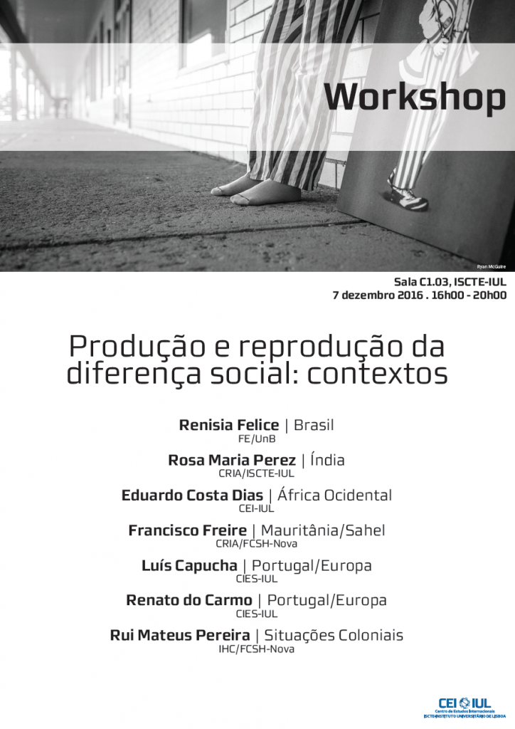 Workshop – Produção e reprodução da diferença social: contextos