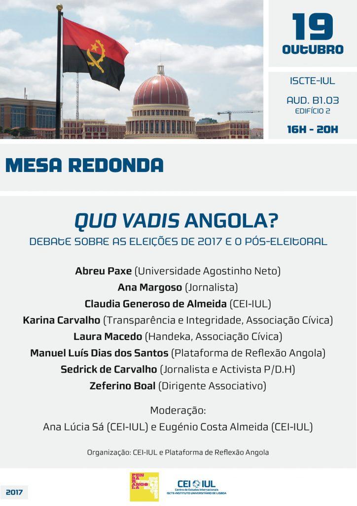 Quo Vadis Angola? Debate sobre as Eleições de 2017 e o Pós-Eleitoral