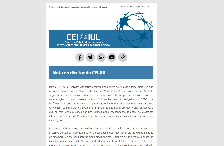 Publicação da newsletter de agosto do CEI-IUL