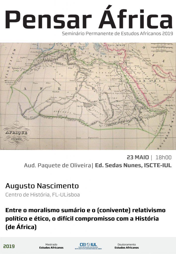 23MAI | Não perca sessão do Pensar África com Augusto Nascimento