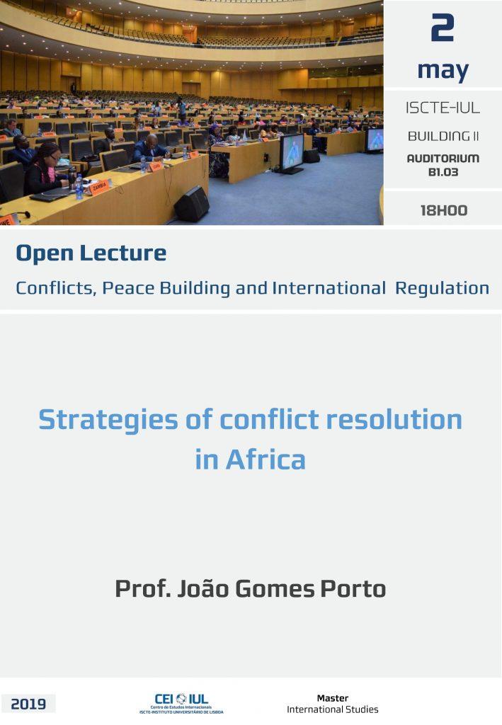 Não perca a aula aberta de hoje sobre resolução de conflitos em África
