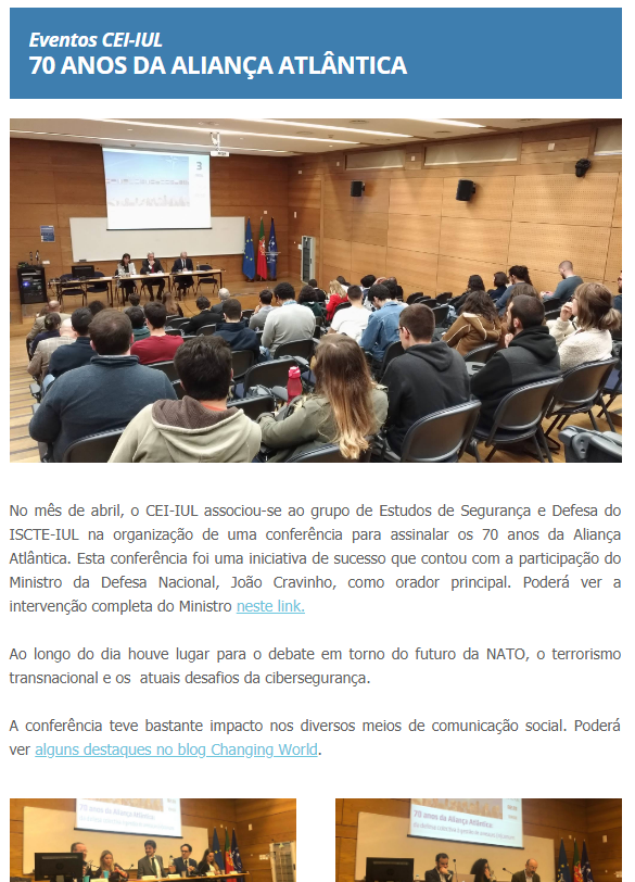 Consulte a newsletter abril do CEI-IUL
