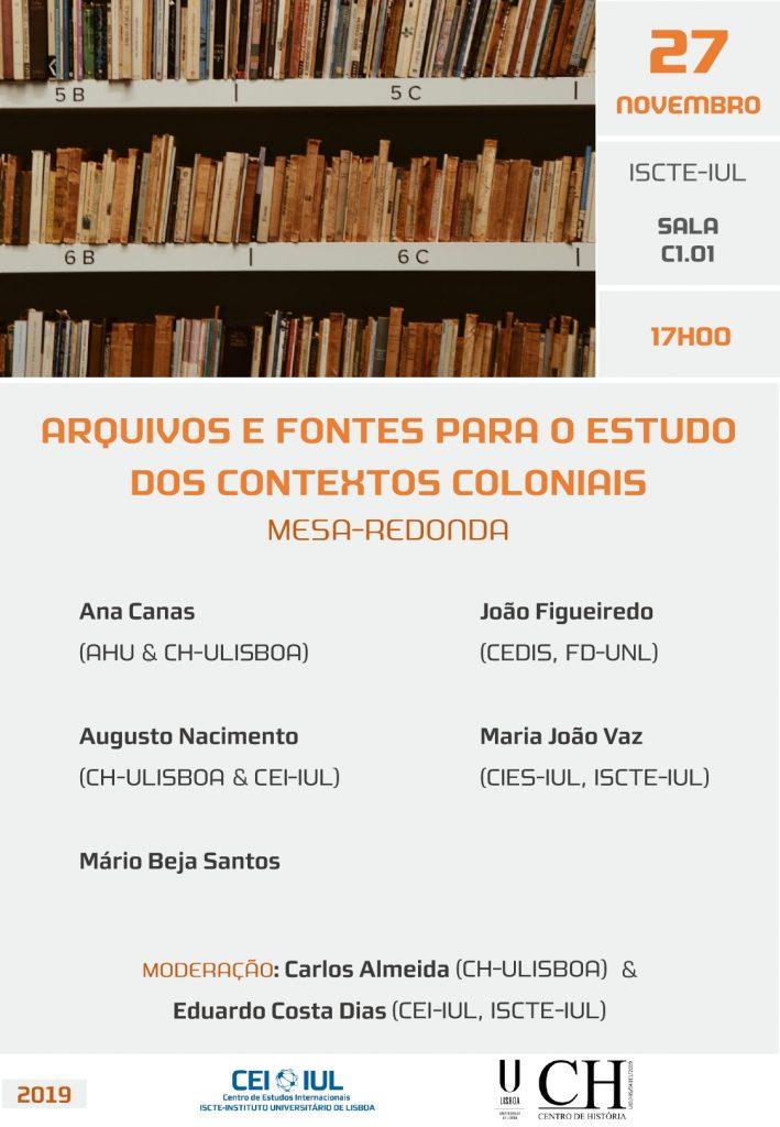 Mesa-redonda: Arquivos e Fontes para o Estudo dos Contextos Coloniais